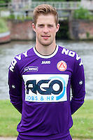 Kotrijk's goalkeeper Remi Pillot poses for the photographer during the 2014-2015 season photo shoot of Belgian first league soccer team KV Kortrijk, Tuesday 08 July 2014 in Kortrijk.