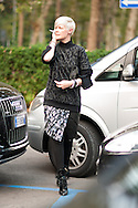 Kate Lanphear in Leopard Print, Outside Alberta Ferretti
