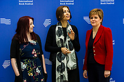Pictured: First Minister Nicola Sturgeon at the Edinburgh International Book Festival alongside Heather McDaid and Elif Shafak<br /> Book fanatics headed to Charlotte Square in Edinburgh which is the hub of the international Book Festival to meet the authors and also to meet up with fellow fans of the printed word.<br /> <br /> <br /> Ger Harley | EEm 18 August 2017
