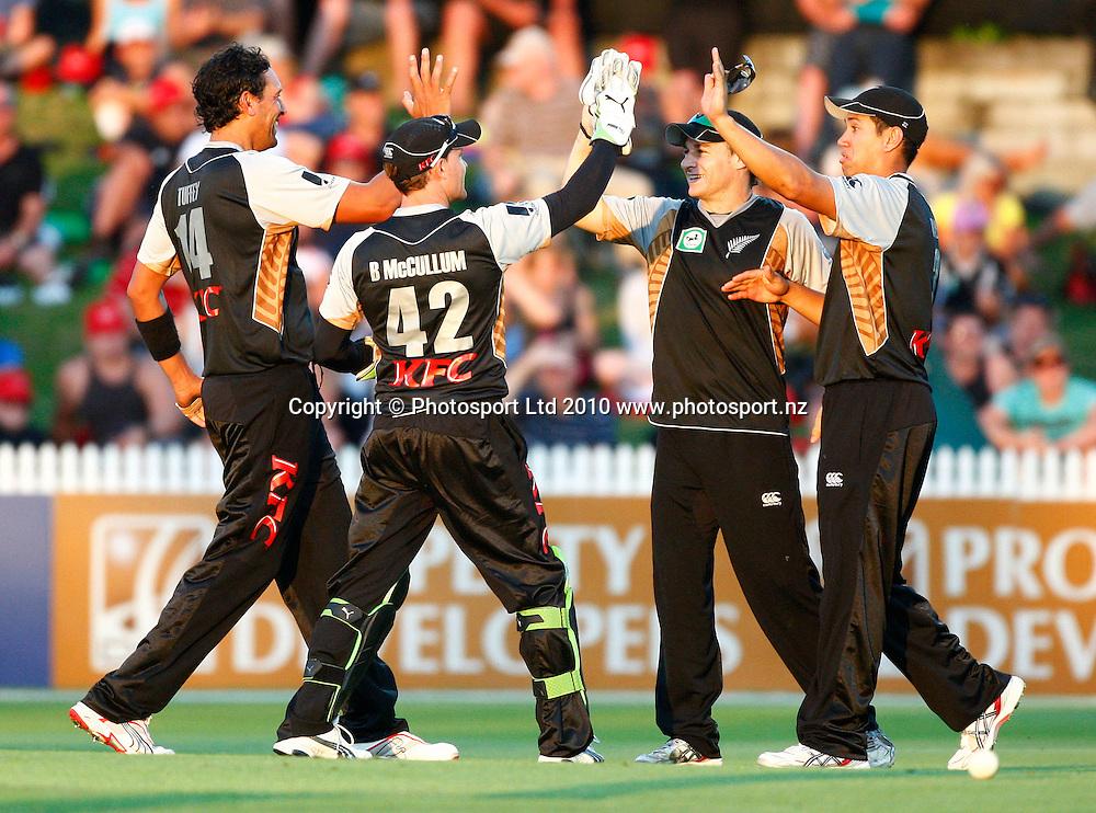 Blackcaps celebrate a wicket. KFC Twenty20, New Zealand Blackcaps v Bangladesh, Seddon Park, Hamilton. Wednesday 3rd February 2010. Photo: Simon Watts/PHOTOSPORT