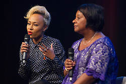 © Licensed to London News Pictures. 18/06/2013. London, UK. Singer Emeli Sande (L), sitting with Doreen Lawrence, the mother of murdered teenager Stephen Lawrence, talks during a question and answer session held at a press conference for 'Unity - A Concert for Stephen Lawrence', in London today (18/06/2013). The concert will be held in aid of the Stephen Lawrence Charitable Trust, which helps young people from disadvantaged backgrounds, on the 29th of September 2013 at the O2 arena in Greenwich, London. Photo credit: Matt Cetti-Roberts/LNP