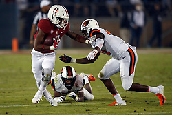 PALO ALTO, CA - NOVEMBER 10:  Wide receiver Connor Wedington #5 of the Stanford Cardinal is tackled by linebacker Shemar Smith #41 of the Oregon State Beavers during the first quarter at Stanford Stadium on November 10, 2018 in Palo Alto, California. The Stanford Cardinal defeated the Oregon State Beavers 48-17. (Photo by Jason O. Watson/Getty Images) *** Local Caption *** Connor Wedington; Shemar Smith
