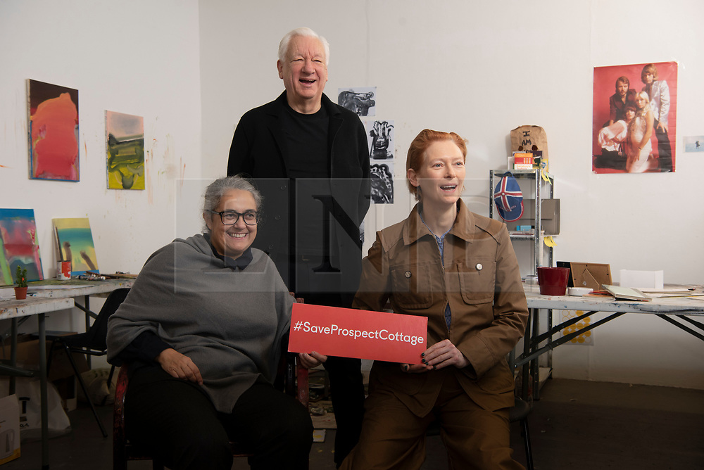 © Licensed to London News Pictures. 22/01/2020. London, UK. Artist Tacit-a Dean, artist  Michael-Craig Martin and actress Tilda Swinton launch an Art Fund £3.5million public appeal to save Prospect Cottage, the home and garden of the late artist Derek Jarman. Photo credit: Ray Tang/LNP