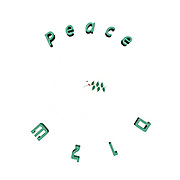 Famous quotes series: Peace in English and Hebrew with white dove and olive leaf
