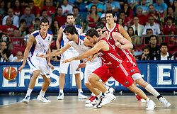 Milos Teodosic of Serbia vs Ender Arslan of Turkey during the second semifinal basketball match between National teams of Serbia and Turkey at 2010 FIBA World Championships on September 11, 2010 at the Sinan Erdem Dome in Istanbul, Turkey.   (Photo By Vid Ponikvar / Sportida.com)