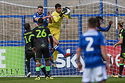 Forest Green Rovers goalkeeper Robert Sanchez(1) collects the ball during the EFL Sky Bet League 2 match between Macclesfield Town and Forest Green Rovers at Moss Rose, Macclesfield, United Kingdom on 29 September 2018.
