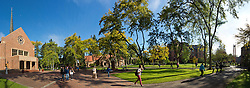 Panorama view of Red Square including Karen Hille Phillips Center, Xavier Hall, Harstad Hall and the Anderson Clock Tower at PLU on Friday, Oct. 4, 2013. (Photo/John Froschauer)