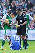 Yellow card for Andy Halliday during the Ladbrokes Scottish Premiership match between Hibernian and Rangers at Easter Road, Edinburgh, Scotland on 13 May 2018. Picture by Kevin Murray.