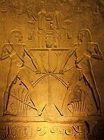 frieze of the luxor temple by night in upper egypt