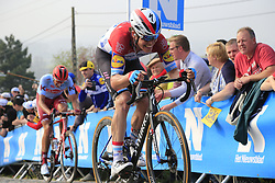 Luxembourg Champion Bob Jungels (LUX) Deceuninck-Quick Step climbs the Paterberg for the last time during the 2019 Ronde Van Vlaanderen 270km from Antwerp to Oudenaarde, Belgium. 7th April 2019.<br /> Picture: Eoin Clarke | Cyclefile<br /> <br /> All photos usage must carry mandatory copyright credit (© Cyclefile | Eoin Clarke)