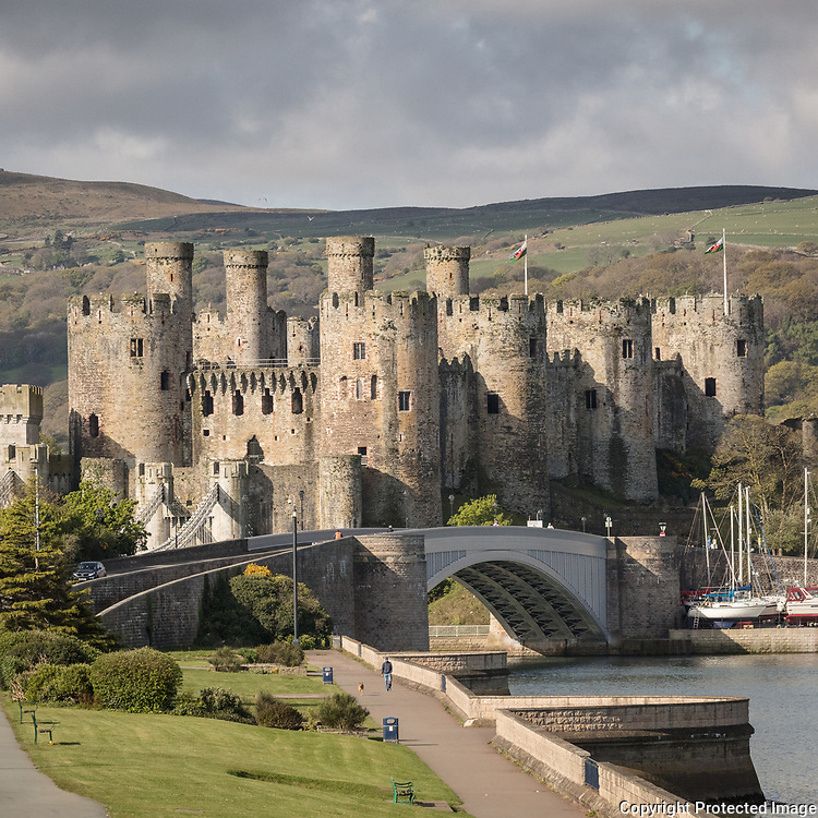 Conwy Castle built by Edward I, during his conquest of Wales, between 1283 and 1289, Conwy.