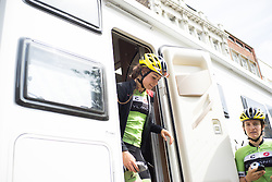 Sheyla Gutierrez Ruiz (ESP) leaves the Cylance Pro Cycling team bus before the Aviva Women's Tour 2016 - Stage 5. A 113.2 km road race from Northampton to Kettering, UK on June 19th 2016.