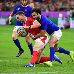 (L-R) George NORTH of Wales and Yoann HUGET of France during the Rugby World Cup 2019 Quarter Final match between Wales and France on October 20, 2019 in Oita, Japan. (Photo by Dave Winter/Icon Sport) - Oita Stadium - Oita (Japon)