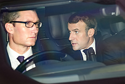 © Licensed to London News Pictures. 03/12/2019. London, UK. French President EMMANUEL MACRON (right) arrives at Winfield House in Regents Park, London, where President Donald Trump is staying during the NATO leaders summit. Worlds leaders are due to attend a series of events over a two day NATO summit which will mark the 70th anniversary of the alliance of nations. Photo credit: Ben Cawthra/LNP