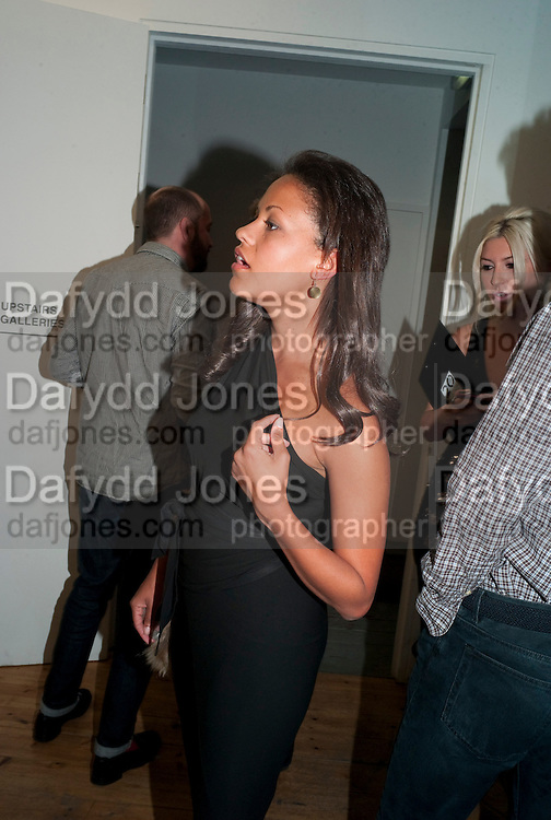 """RACHEL BARRETT, Video artist Yi Zhou  first solo show """"I am your Simulacrum"""".Exhibition opening at 20 Hoxton Square Projects. Hoxton Sq. London. 1 September 2010.  -DO NOT ARCHIVE-© Copyright Photograph by Dafydd Jones. 248 Clapham Rd. London SW9 0PZ. Tel 0207 820 0771. www.dafjones.com."""
