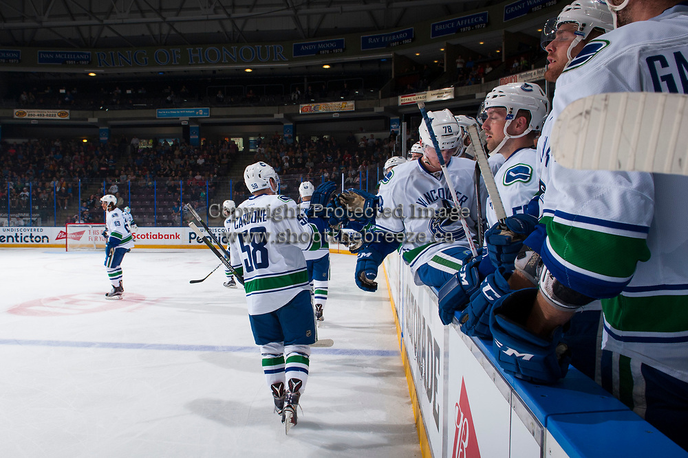 PENTICTON, CANADA - SEPTEMBER 8: Michael Carcone #58 of Vancouver Canucks celebrates a goal against the Winnipeg Jets on September 8, 2017 at the South Okanagan Event Centre in Penticton, British Columbia, Canada.  (Photo by Marissa Baecker/Shoot the Breeze)  *** Local Caption ***