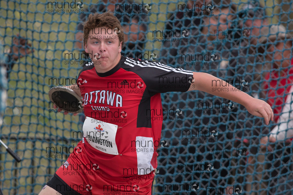OTTAWA, ON -- 06 July 2018: Brandon Ovington throwing in the U20 discus at the 2018 Athletics Canada National Track and Field Championships held at the Terry Fox Athletics Facility in Ottawa, Canada. (Photo by Sean Burges / Mundo Sport Images).