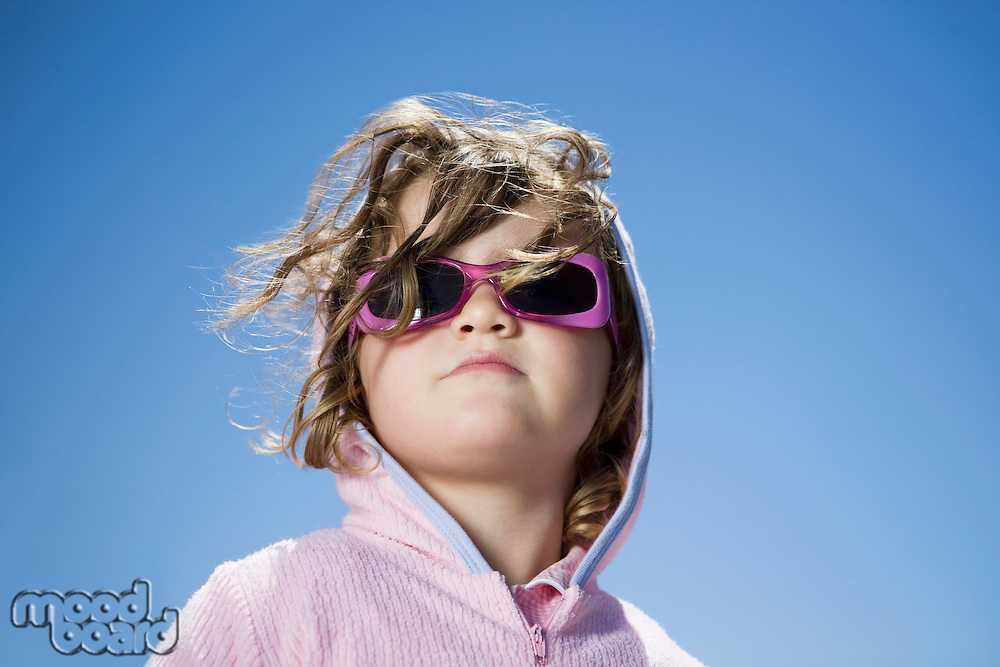 South Africa Cape Town girl in sunglasses against clear sky