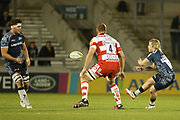 F De Klerk feeds the ball during the Aviva Premiership match between Sale Sharks and Gloucester Rugby at the AJ Bell Stadium, Eccles, United Kingdom on 29 September 2017. Photo by George Franks.
