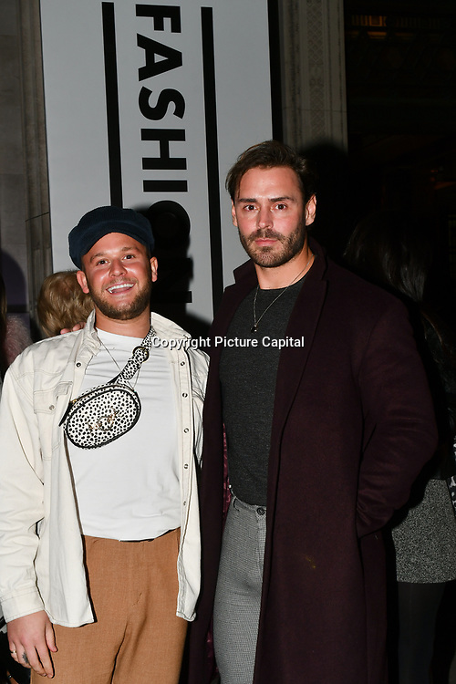 Jake Lindsay and Stuart Compton attend Fashion Scout LFW AW19 Day 1 at Freemasons' Hall, London, UK. 15 Feb 2019