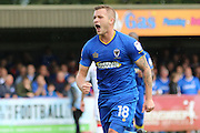 AFC Wimbledon midfielder Dean Parrett (18) takes a penalty and scores a goal 2-0 during the EFL Sky Bet League 1 match between AFC Wimbledon and Gillingham at the Cherry Red Records Stadium, Kingston, England on 1 October 2016. Photo by Stuart Butcher.