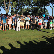 Hunter Mahan hits out of the rough on the 18th during the fourth round of theThe Barclays Golf Tournament at The Ridgewood Country Club, Paramus, New Jersey, USA. 24th August 2014. Photo Tim Clayton