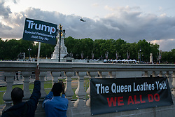 © Licensed to London News Pictures. 03/06/2019. London, UK. A Marine One helicopter thought to be carrying President of the United States of America Donald Trump arrives at Buckingham Palace for the President to attend a State Banquet with the Queen, whilst anti-Trump demonstrators protest outside at Buckingham Palace. Photo credit : Tom Nicholson/LNP