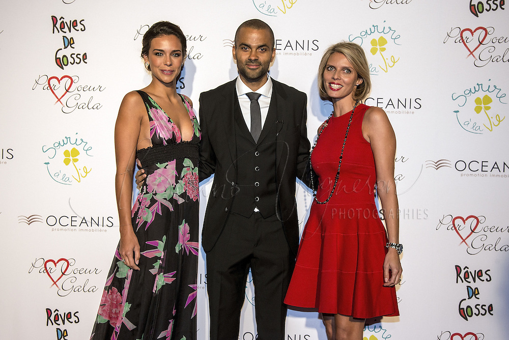 Tony Parker's Charity gala at &quot;Abbaye de Colonges&quot;<br /> Marine Lorphelin, miss France 2013, Tony Parker and Sylvie Tellier, miss France 2002