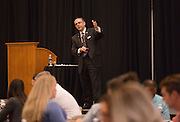 Patrick Donadio gives his presentation, Communicating with IMPACT, at the Leadership Development Program event in Baker Ballroom on August 26, 2016. Photo by Emily Matthews