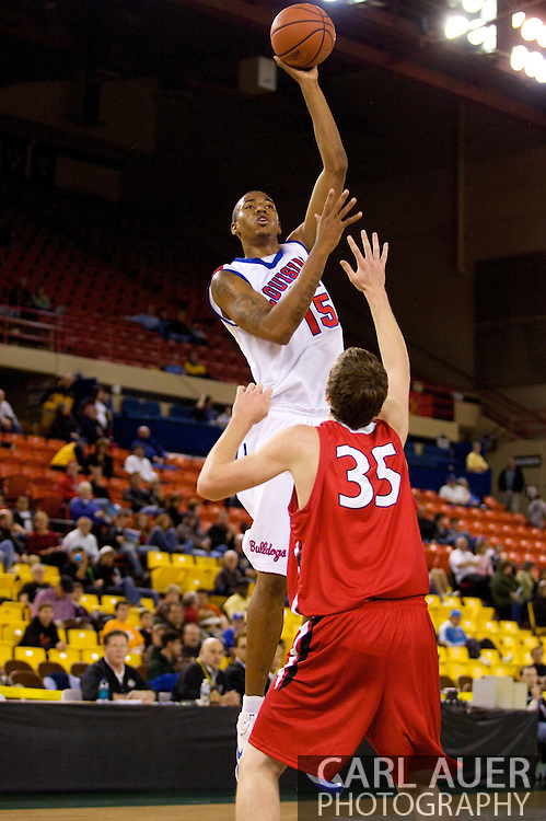 November 27, 2008: Louisiana Tech forward/center Magnum Rolle (15) shoots over Seattle University's Leigh Swanson (35) in the opening round of the 2008 Great Alaska Shootout at the Sullivan Arena