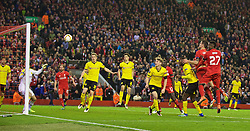 LIVERPOOL, ENGLAND - Thursday, April 14, 2016: Liverpool's Dejan Lovren scores a dramatic injury time winning fourth goal to seal a 4-3 (5-4 aggregate) victory over Borussia Dortmund during the UEFA Europa League Quarter-Final 2nd Leg match at Anfield. (Pic by David Rawcliffe/Propaganda)