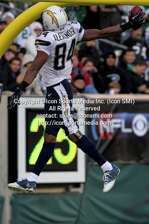 23 December 2012: San Diego Chargers wide reciever Danario Alexander (84) celebrates a touchdown during a week 16 NFL matchup between the San Diego Chargers and New York Jets at MetLife Stadium in East Rutherford, New <br /> Jersey. The Chargers defeated the Jets 27-17.