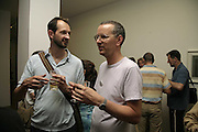 STUART CUMBERLAND AND DES HUGHES. Gimpel Fils 60th Anniversary Exhibition. Davies St. London. 27 July 2006. ONE TIME USE ONLY - DO NOT ARCHIVE  © Copyright Photograph by Dafydd Jones 66 Stockwell Park Rd. London SW9 0DA Tel 020 7733 0108 www.dafjones.com