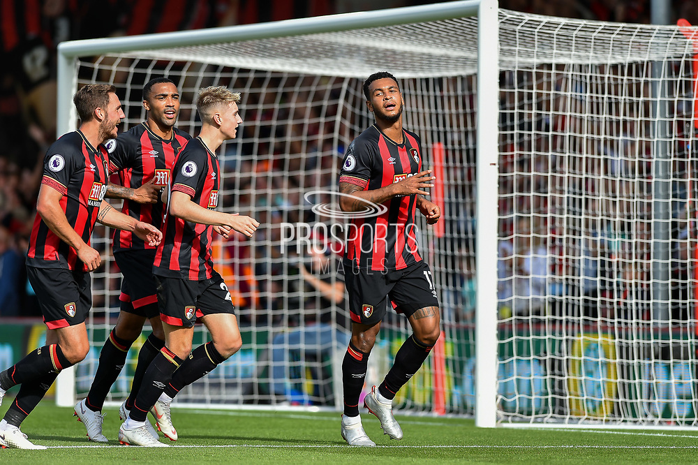 AFC Bournemouth Players Celebrate after AFC Bournemouth Forward, Josh King (17) scores a penalty to make it 3-0 during the Premier League match between Bournemouth and Leicester City at the Vitality Stadium, Bournemouth, England on 15 September 2018.