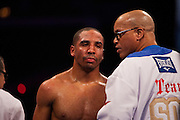 Dec 17, 2011; East Rutherford, NJ, USA; Andre Ward (white trunks) and Carl Froch (black trunks) during their 12 round WBA/WBC Super Middleweight Championship fight at Boardwalk Hall. Ward won via unanimous decision.