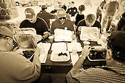 Charles Hamlin (center), of Sweetwater participates as a judge in the 2006 Rattlesnake Round-Up Cook-off at Nolan Park in Sweetwater on March 11, 2006.  Hamlin has lived in Sweetwater for over thirty years and participated in the as a judge in the cook-off for over a decade.