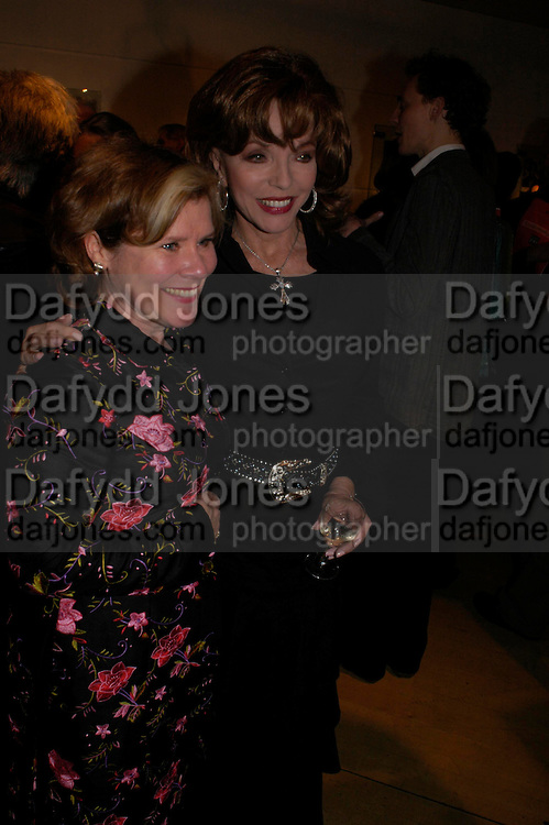 Imelda Staunton and Joan Collins.  CentenalRada in aid of the Rada  Student Hardship fund.  RADA Theatre. 17 April 2005. ONE TIME USE ONLY - DO NOT ARCHIVE  © Copyright Photograph by Dafydd Jones 66 Stockwell Park Rd. London SW9 0DA Tel 020 7733 0108 www.dafjones.com