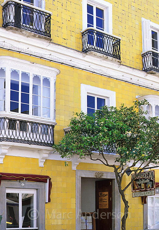 yellow building, Costa de la Luz, Tarifa, Spain