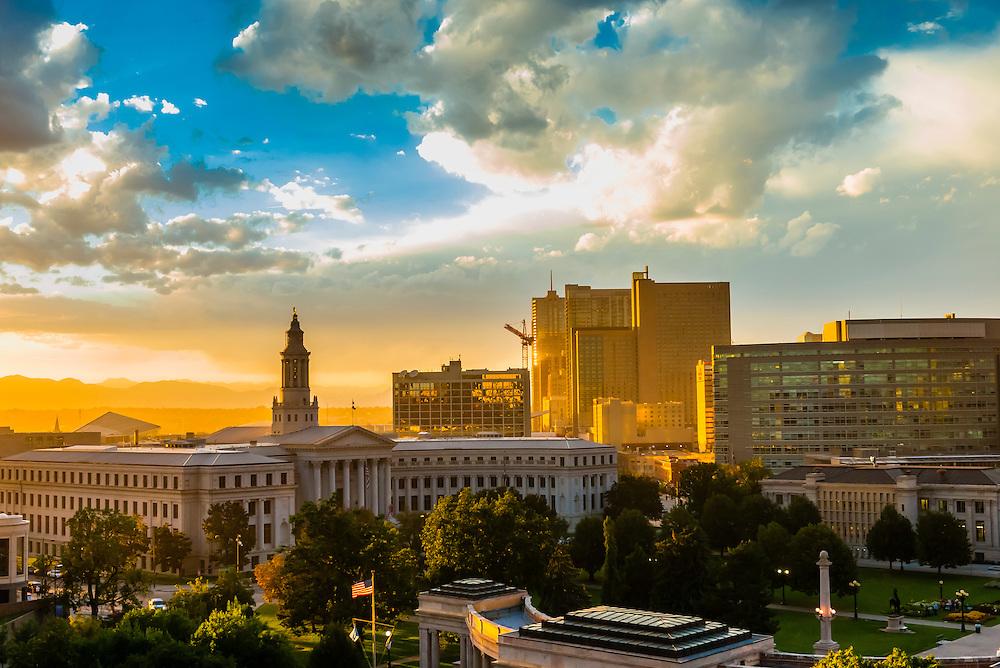 Denver Civic Center and skyline of Downtown Denver, Colorado USA.