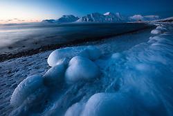 Arctic night, in Isfjorden, Svalbard, Norway