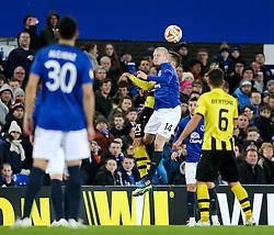 Everton's Steven Naismith wins a header - Photo mandatory by-line: Matt McNulty/JMP - Mobile: 07966 386802 - 26/02/2015 - SPORT - Football - Liverpool - Goodison Park - Everton v Young Boys - UEFA EUROPA LEAGUE ROUND OF 32 SECOND LEG