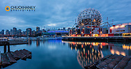Panoramic of Science World at Telus World of Science along False Creek in Vancouver, British Columbia, Canada