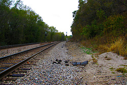 October 2009: Railroad tracks disappear into the colored woods of fall west of Galena. Sights to see in and around Galena Illinois.
