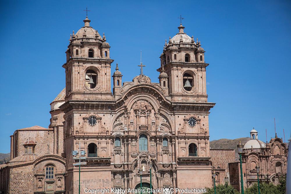 Iglesia de la Compania, in the Plaza de Armas, Cusco, Peru.  Constructed in 1571 on the foundation of an Inca palace.