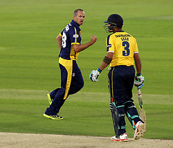 Glamorgan's Dean Cosker celebrates the wicket of Hampshire's Owais Shah - Photo mandatory by-line: Robbie Stephenson/JMP - Mobile: 07966 386802 - 03/07/2015 - SPORT - Cricket - Southampton - The Ageas Bowl - Hampshire v Glamorgan - Natwest T20 Blast