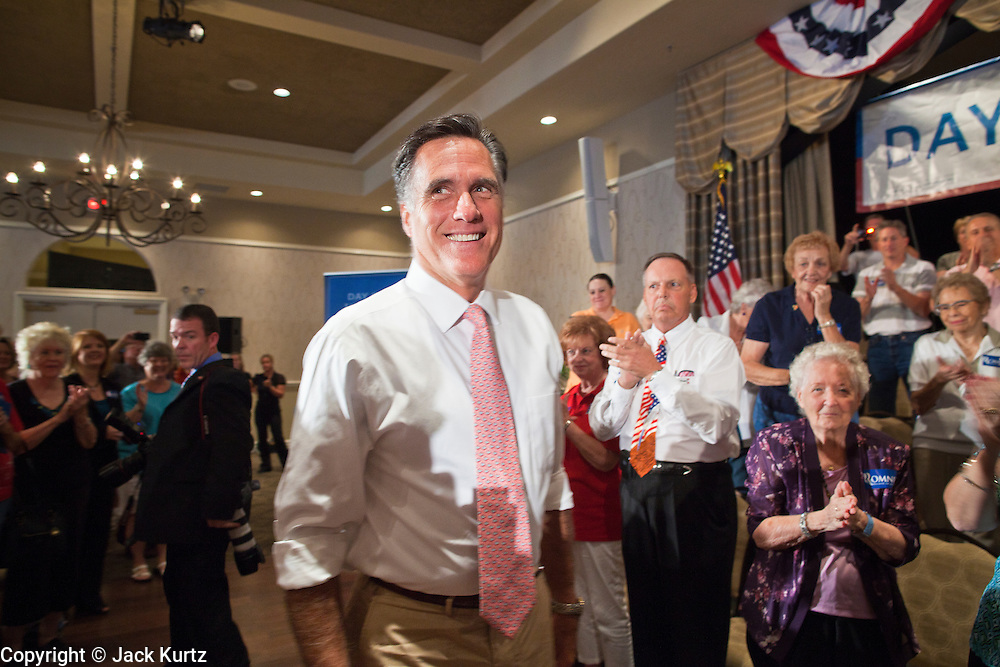 14 SEPTEMBER 2011 - SUN LAKES, AZ: Mitt Romney (CQ) campaigns in a packed ballroom at the Oakwood Clubhouse at Sun Lakes Wednesday. Romney was one of the first of the 2012 Republicans running for the GOP Presidential nomination to come to Arizona. He campaigned Wednesday in Tucson and Sun Lakes and attended a private event in Tempe.       PHOTO BY JACK KURTZ