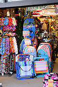Boogie boards, plastic leis and souvenirs for sale in Waikiki, Honolulu, Hawaii