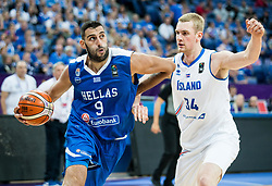 Ioannis Bourousis of Greece vs Tryggvi Hlinason of Iceland during basketball match between National Teams of Greece and Iceland at Day 1 of the FIBA EuroBasket 2017 at Hartwall Arena in Helsinki, Finland on August 31, 2017. Photo by Vid Ponikvar / Sportida