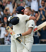 100 - Ben Stokes of England in hugged by Jonny Bairstow of England as he celebrates scoring a century during the International Test Match 2019 match between England and Australia at Lord's Cricket Ground, St John's Wood, United Kingdom on 18 August 2019.