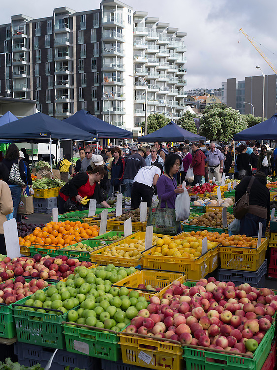 Sunday morning farmer's market at Te Papa Museum, Wellington, along the waterfront.